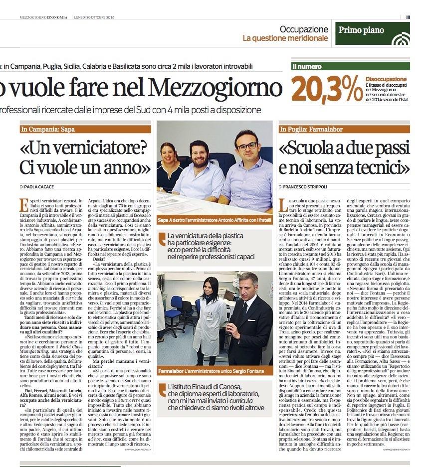 Intervista Antonio Affinita Corriere della sera inserto Mezzogiorno economia 2014
