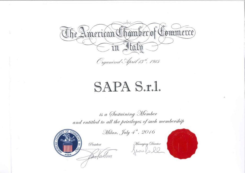 Certificato SAPA Group iscrizione The American Chamber of Commerce