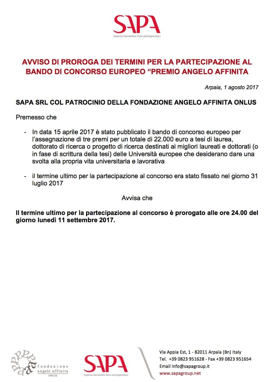 Avviso Proroga Bando Premio Affinita 2017 Ita Sapa Group